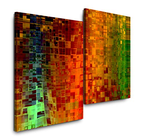 Sinus Art Abstrakte Kunst 120x80cm 2 Kunstdrucke je 70x60cm Kunstdruck modern Wandbilder XXL Wanddekoration Design Wand Bild (Abstrakte Kunst Rot)