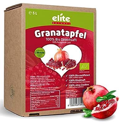 2 x 5 Liter Bio Granatapfel Direktsaft (Muttersaft), naturtrüb und ungefiltert, Bio Granatapfelsaft in der Box
