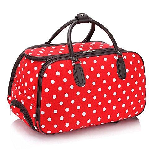 LeahWard® Damen Mittlere Größe Reisetasche Gepäck Reisetasche mit Rad Handgepäck UrlaubTaschen (Rot DOT) (Zwei Mittel-gepäck-tags)