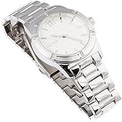 Techno Trend Men's Silver Plated Flat Lens w/ Cut Edges Japanese Quartz Movement Hip Hop Watch