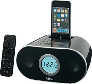 AEG SRC 4333 IP Radio réveil Écran LCD Récepteur FM Station d'accueil iPod Noir (Import Allemagne)