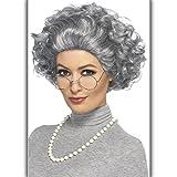 Großmutter Kostümzubehör mit Perücke, Perlenkette und Brille Granny Outfit Lehrerin Verkleidung Alte Frau Grandma Accessoire Oma Kostüm Set