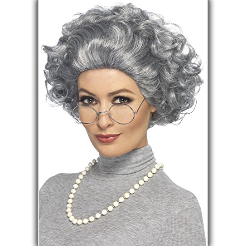 ubehör mit Perücke, Perlenkette und Brille Granny Outfit Lehrerin Verkleidung Alte Frau Grandma Accessoire Oma Kostüm Set (Alte Frau Kostüm)