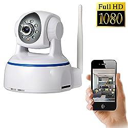 IP Kamera, NOA Wireless 1080P Full HD Tag Überwachungskamera und Tag-/Nacht-Webcam (Weiß) (Weiß)