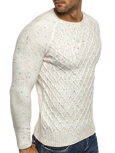 OZONEE Herren Strickjacke Pullover Strickpullover Sweats Strick BLACK ROCK 18001 Ecru_MAD-1555