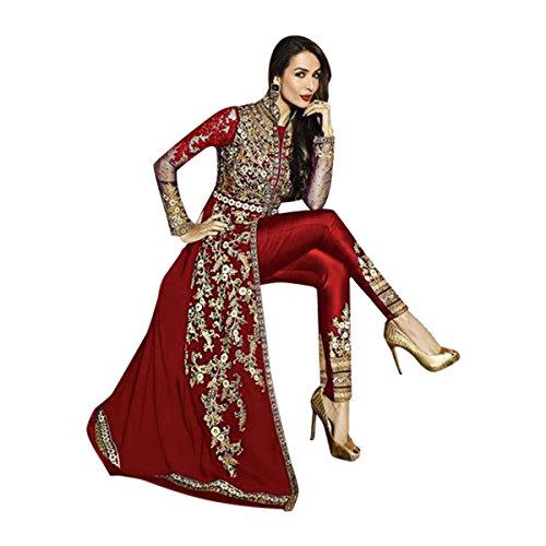 Dark Red rote Farbe dunkelrote Farbe Maßanfertigung Custom to Measure Europe size 32 to 44 Available Ceremony Party Wear Anarkali Salwar Suit Women Designer Kleid Zeremonie Kleid Material Partei tragen indische Hochzeit Braut 9215