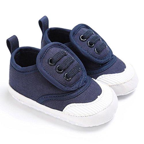 Pour 0-18 mois Bébé,Transer ® Lit de bébé garçon filles chaussures souples semelle anti-dérapant Sneakers Marine