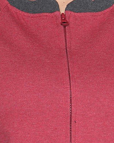Campus Sutra Women's Zipper Jacket with Contrast Details(AW15_ZHBDR_W_PLN_MACH_XL_Maroon_X-Large)