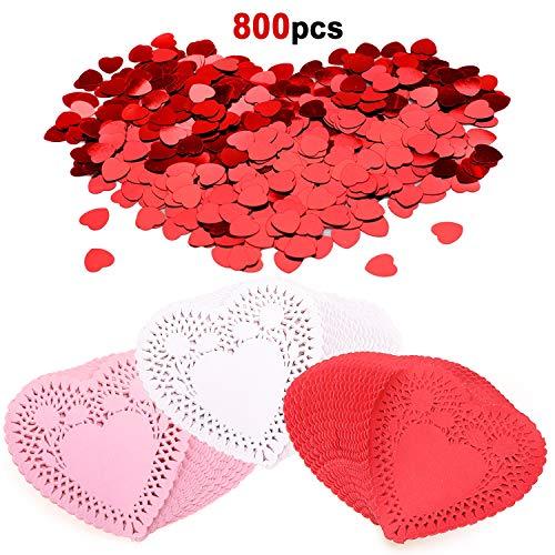Howaf 300 Valentinstag deko Mini Papier Herz Deckchen Platzsets im Rosa, Weiß, Rot und 500 Stück Rot Herzen Konfetti für Hochzeit Party Valentinstag Tischdekoration