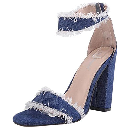 Oasap Women's Peep Toe Raw Edge Block Heels Denim Sandals Blue