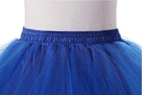 Broybuy Damen Kurz Retro Petticoat Rock Ballett Blase 50er Tutu Ball Kleid Mehrfarbengroß Unterröcke Königsblau