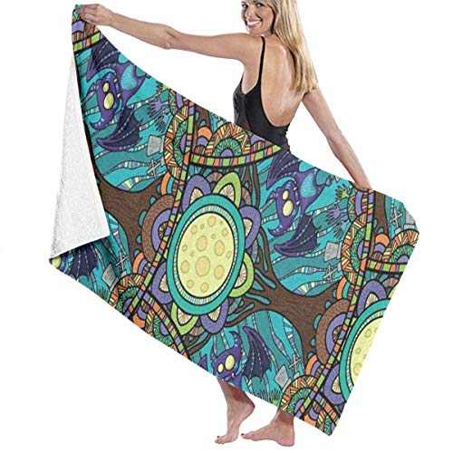 and Drawn Tribal Bat Forest Happy Halloween Personalized Custom Women Men Quick Dry Lightweight Beach & Bath Blanket Great for Beach Trips, Pool, Swimming and Camping 31
