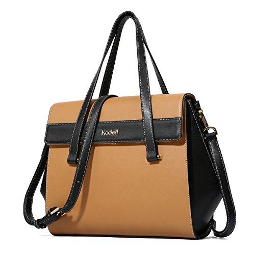 Kadell Frauen Leder Handtasche Top Griff Schultertasche Tote Geldbörse Crossbody Satchel Gelb (Satchel Classic Leather)