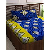 Story@Home Candy 120 TC Cotton Double Bed Sheet with 2 Pillow Covers - Traditional Paisley, Queen Size, Yellow and Blue