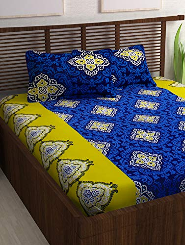 4e98077bbd ... Cotton Double Bed Sheet with 2 Pillow Covers – Traditional Paisley,  Queen Size, Yellow and Blue. Sale! ₹899.00 ...