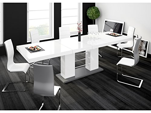 H MEUBLE Table A Manger Design Extensible 210÷260 CM X P : 89 CM X H: 75 CM - Blanc