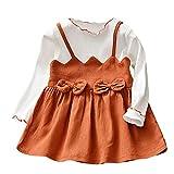 Beikoard_Babykleidung Kleinkind Kinder Baby Bogen Patchwork Partei Prinzessin Dress Outfits Clothes Gefälschtes Zweiteiliges Colorblock Kleid