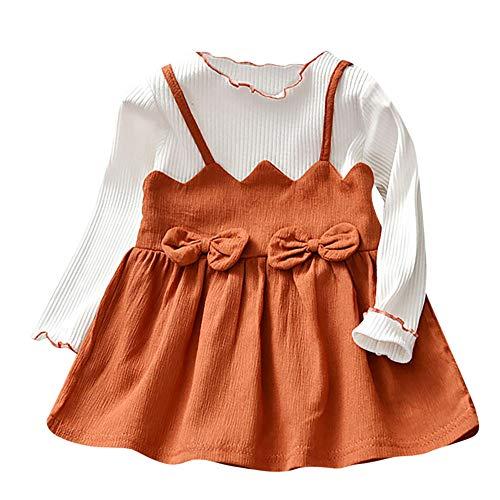 LEXUPE Baby Mädchen Kleid Weihnachten Bekleidung Set Strampler Tütü Bodys + Kopfband 0-18 Monate(Braun,100) -