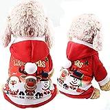 Nibesser Hundemantel Weihnachtskostüm für Klein Hund Katze Rot Hoodies Elk Schneemann weich warm bequem Haustier Zubehör(XS-2XL)