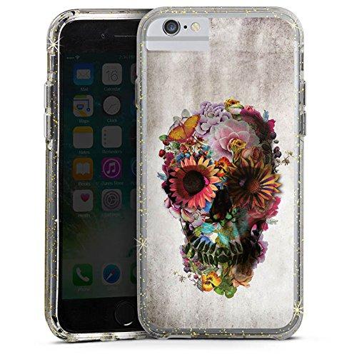 Apple iPhone 7 Bumper Hülle Bumper Case Glitzer Hülle Totenkopf Skull Flowers Bumper Case Glitzer gold