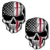 SkinoEu 2 x Adesivi Vinile Stickers Skull Bandiera USA Stati Uniti Teschio Thin Red Line per Auto Moto Finestrìno Porta Casco Scooter Bici Motociclo Tuning B 42