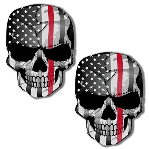 2 Stück Vinyl Aufkleber Autoaufkleber Skull Schädel Totenkopf Knochen USA Flagge Vereinigte Staaten Von America Horror Stickers Auto Moto Motorrad Fahrrad Helm Fenster...