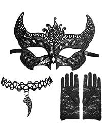 Venetian Lace Devil Tie Mask +Angel Wing Choker + Floral Finger Less Gloves Set