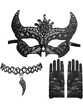 Encaje Veneciano Diablo Máscara + Gargantilla De Ala De Ángel+ Guantes Sin Dedos