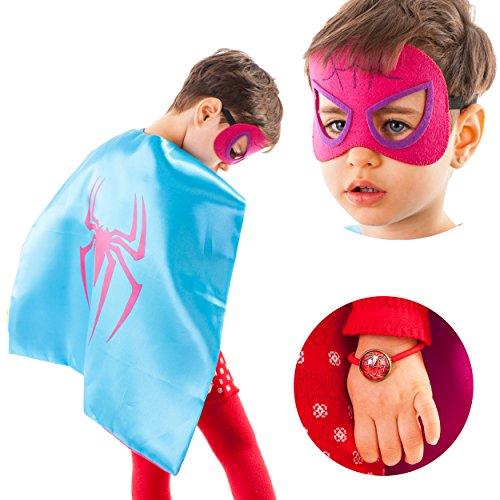 LAEGENDARY Disfraces de Superhéroes para Niños - 4 Capas y Máscaras - Logo Brillante de Wonder Woman - Juguetes para Niñas