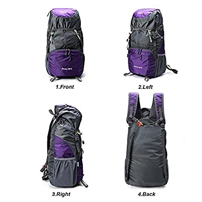 50L Lightweight Hiking Backpack Foldable Multi-Functional Travel Bag Water Resistant Casual Camping Rucksack for Men Women Outdoor Sport Mountain (Purple) - hiking-backpacks
