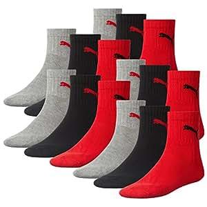 Puma Unisex Short Crew Socks skarpety sportowe, ze spodem z materiału frotte, 12 par, kolor: szary/czarny/czerwony, rozmiar: 35–38