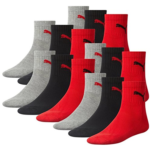 Black Crew Socken (PUMA Unisex Short Crew Socks Socken Sportsocken MIT FROTTEESOHLE 12er Pack (43-46, Black/Red (232)))