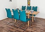 Wooden Nature Esstisch-Set ausziehbar 224 inkl. 6 Stühle (petrol), Buche Massivholz - 110-190 x 70 (L x B)