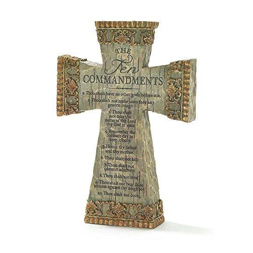 Die Zehn Gebote Antik Filigran 22,9cm Kunstharz Tischplatte Kreuz