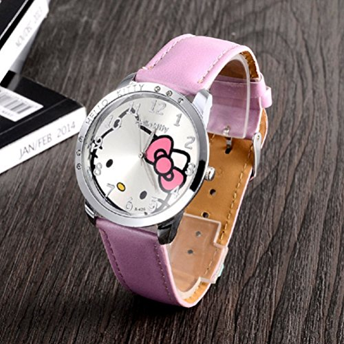 Montre Hello Kitty quartz bracelet cuir rose fille étudiant enfants