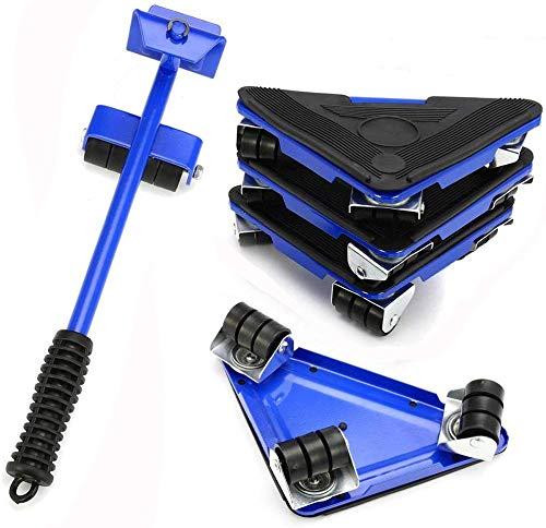 Möbeltransport-Werkzeug-Set, Moving Roller Kit Dolly Lifter Wheelset mit 1 Hebestange und 4 Packungen 360 Grad drehbare Möbelgleiter Kit, jedes Stück Traglast 75kg