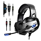 PS4 Headset, onikuma K5 3,5 mm Stereo PC Gaming Kopfhörer mit Mikrofon Lautstärkeregler für neue Xbox One Computer Laptop Mac Playstation 4