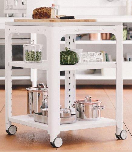 Concept Kitchen Einlegeboden weiß RAL 9003, 1330 mm Stahlblech pulverbeschichtet, Strukturoberfläche, 4 Kunststoff-Aufnahmeringe, H × T 30 × 640 mm - Pulverbeschichtet Kunststoff