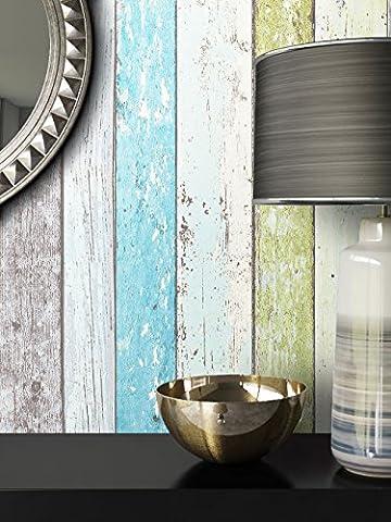 Holz Mustertapete Vliestapete Grün Blau Beige Edel , schöne edle Tapete im Holzwand Design , moderne 3D Optik für Wohnzimmer, Schlafzimmer oder Küche inkl. Newroom Tapezier Ratgeber mit super Tipps!