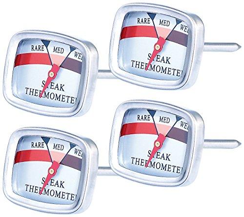 Rosenstein & Söhne Koch-Thermometer: 4er-Set Steak-Thermometer (Bratofen-Thermometer)