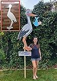 XL XXL SET 148 cm - Babystorch & Baby JUNGE & Beschriftungstafel für draußen Geburt Storch-Holz Klapperstorch Holzstorch BLAU (EINSEITIG bedruckt, 148x60 cm)