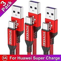 USB Typ C Kabel 5A, AKOADA [3 Stück 0.5M+1M+2M] Schnell Ladekabel für Huawei P30 P20 pro P20 Mate 30 20 10 pro Honor 10 V10 P10 Plus Mate 30 pro usw(Rot)