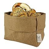 bun-di Swiss® - KREMPELBOX XL | Großer Brotkorb, Paper-Bag, Utensilo, Deko-Übertopf, Geschenkbox | Waschbares Papyr mit Lederoptik (Veganes Leder) | Ø 20cm (Choco)