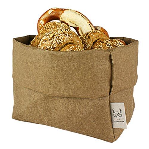 bun-di Swiss® - KREMPELBOX XL | Großer Brotkorb, Paper-Bag, Utensilo, Deko-Übertopf, Geschenkbox | Waschbares Papyr mit Lederoptik (Veganes Leder) | Ø 20cm (Choco) Echt Leder Snap