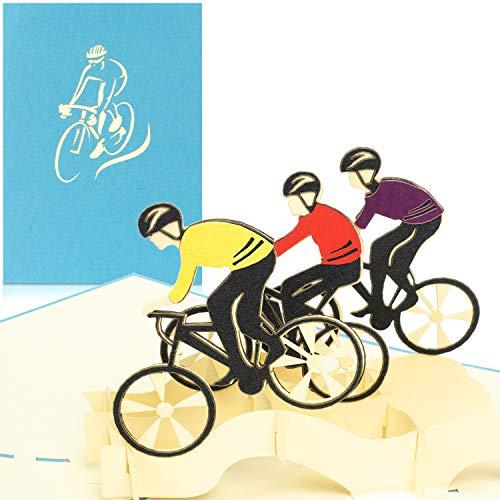 PaperCrush® Pop-Up Karte Fahrradtour mit Rennrad [NEU!] - 3D Geburtstagskarte als Gutschein oder Geldgeschenk für Fahrrad - Lustiges Geschenk zum Geburtstag für Rennradfahrer, Radfahrer