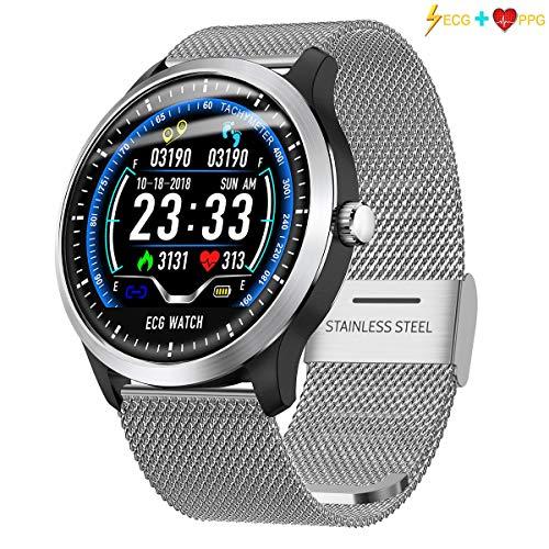 QKa Smart Watch, Farbdisplay-Uhr mit EKG- und PPG-Herzfrequenzmesser, IP67 wasserdicht, Schrittzähler, Fitness-Tracker Kinder Frauen Männer,Silver