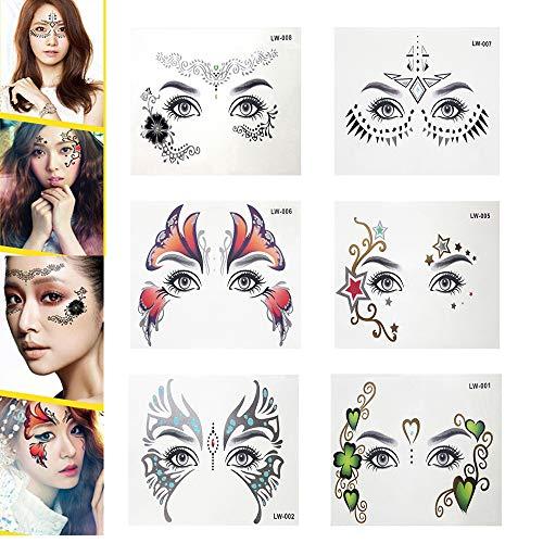 Pinkiou Gesicht Sticker Metallic Gesichts Augenbrauen Tattoo Aufkleber für ()