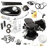 VEVOR Kit de Motor para Bicicleta de Dos Tiempos y 80 cc en Silenciador cromado Gas Motor Bicycle Engine Complete Kit Motorized Bike 2-Stroke (Negro)