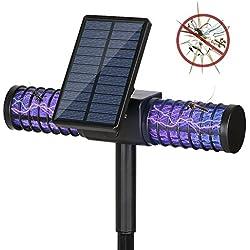 Lámpara anti mosquitos , Homecube Lámpara Solar Mata Insectos Eléctrico Lámpara 4 LED UV solar para Jardín Exterior y con Puerto de carga USB (1 unidad)