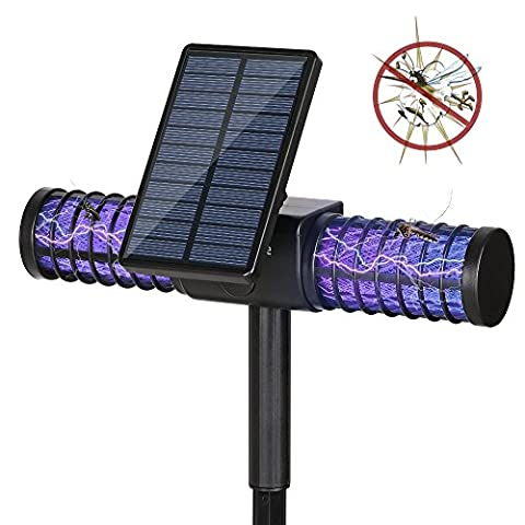 Solar Fly Killer Lamp,Homecube 4 UV Outdoor Light Insect Killer Zapper / Mosquito Killer / Fly Zapper Cordless Security Lamp With USB Charge Port for Garden,Patio,Lawn,Home,Commercial Camping(1